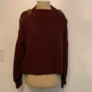 Topshop Cropped Sweater with Button Detail
